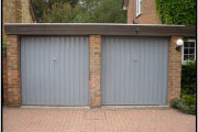 two garage door with blue doors